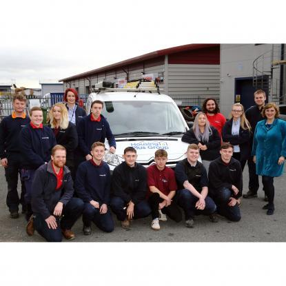 Apprentices and trainees with chief executive Sarah Boden
