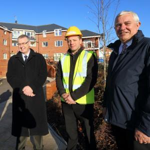 Paul Smith, Chair of Homes Board is pictured at Glebe House, Abbey Forgate in Shrewsbury with Dylan Parker and Steve Bowen from Morris Property