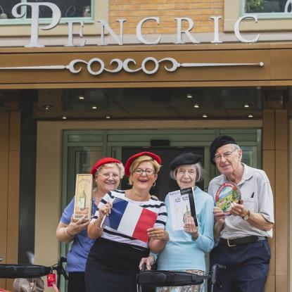 Care Plus customers enjoying taking part in french lessons