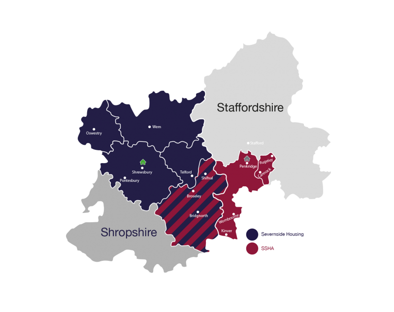 Map of the areas that the Housing Plus Group covers in Shropshire and Staffordshire